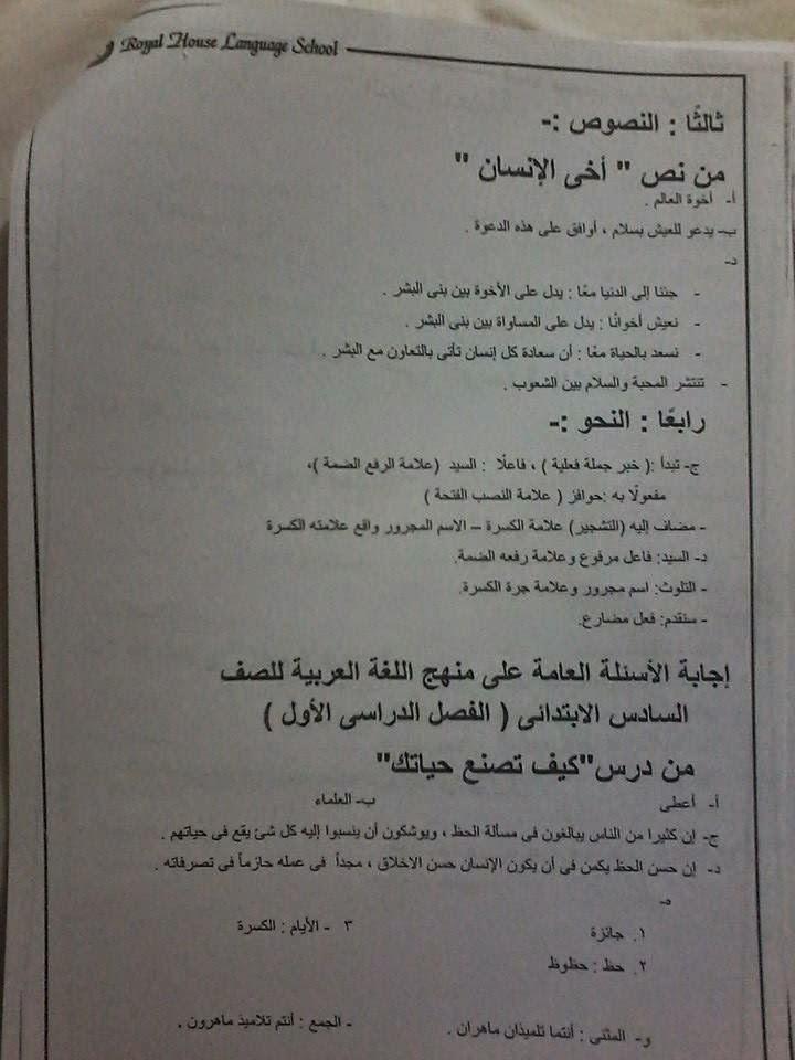 حل أسئلة كتاب المدرسة عربى للصف السادس ترم أول طبعة 2015 المنهاج المصري 10906283_15509096018