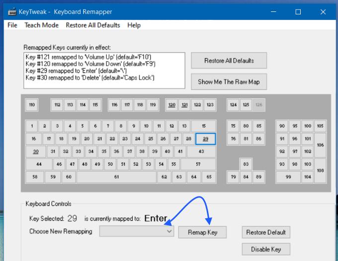 KeyTweak Keyboard remapper