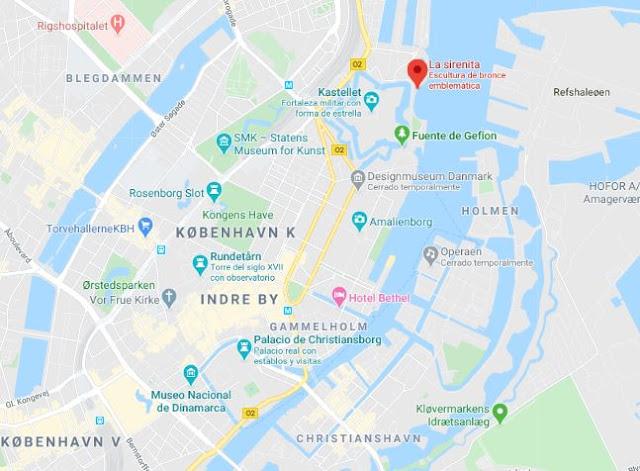 Localización de la Sirenita de Copenhague
