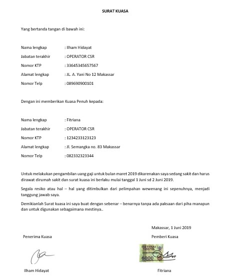 Contoh Surat Kuasa Pengambilan Gaji (via: rumah.com)