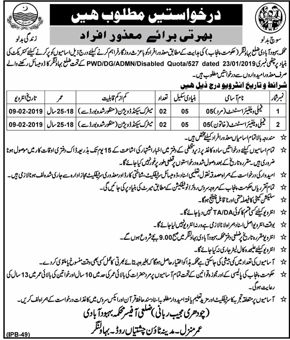Jobs in Bahawalnagar for Disable People