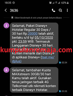 Cara beli Paket Disney+ Hotstar via Dial UMB