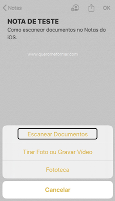 Como escanear documentos pelo Notas do iPhone