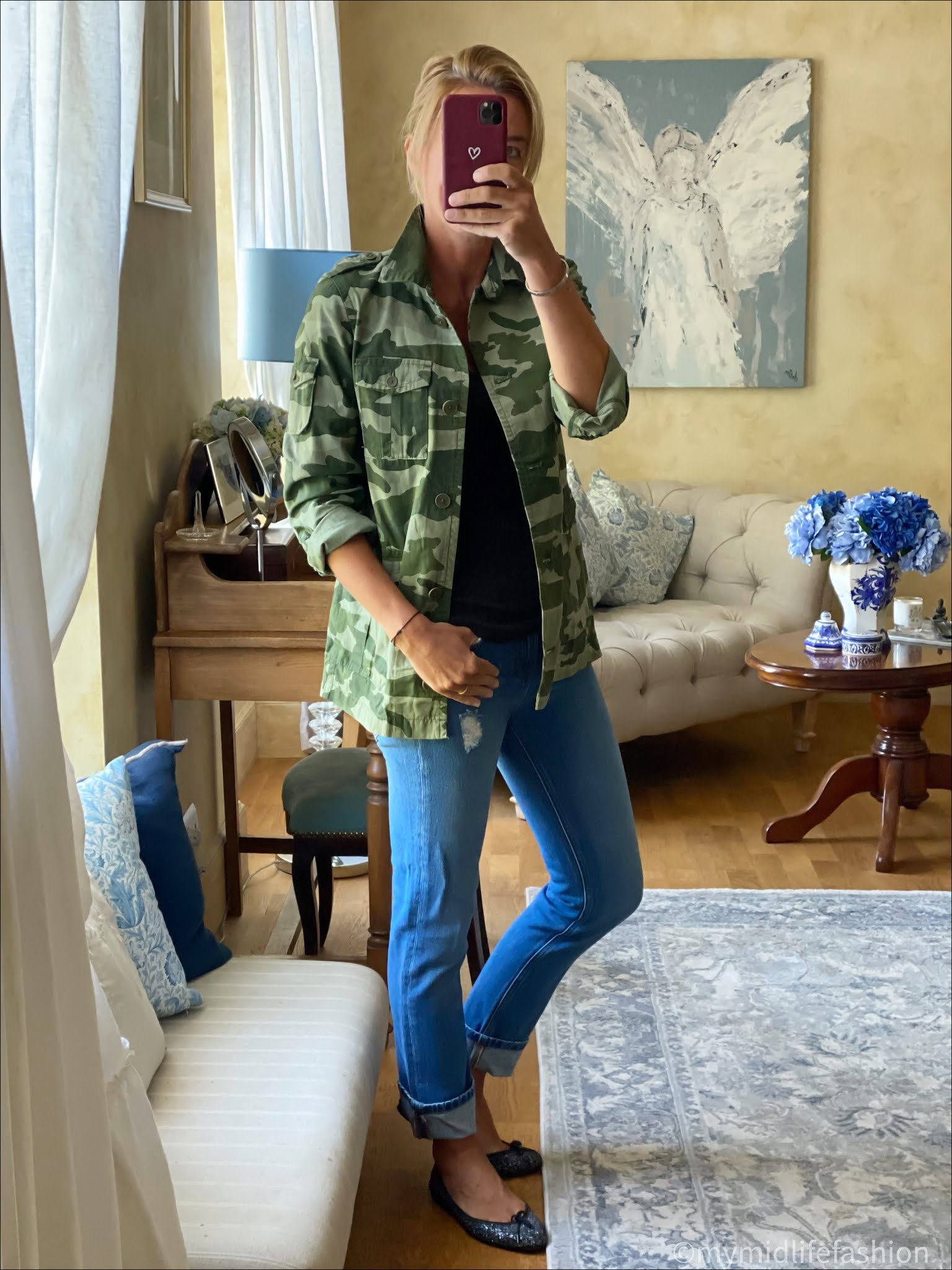 my midlife fashion, j crew camouflage jacket, and other stories ribbed tank, number 44 boyfriend jean, French sole India glitter ballet pumps