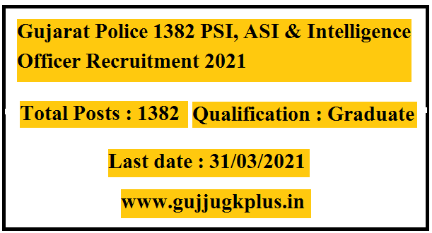 Gujarat Police Recruitment for 1382 PSI, ASI & Intelligence Officer Posts 2021 (OJAS)