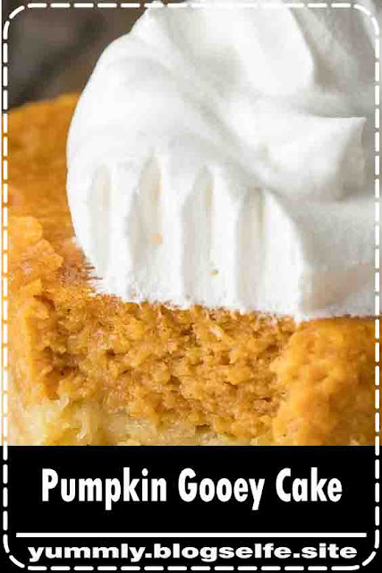 Pumpkin Gooey Cake is part cake, part pumpkin pie with a whole lot of deliciousness in between!