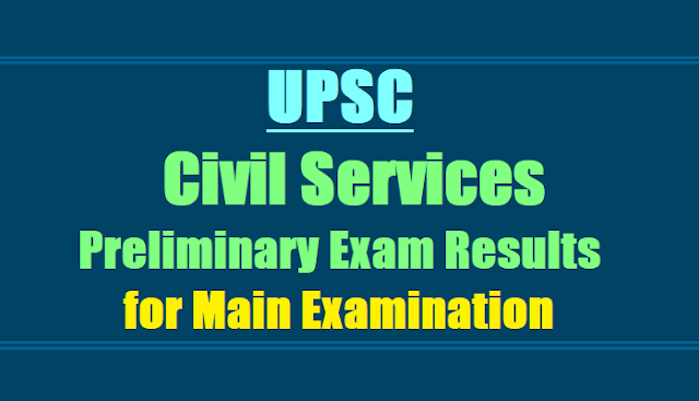 UPSC Civil Services (Preliminary) Exam Results 2017 for Main Exam