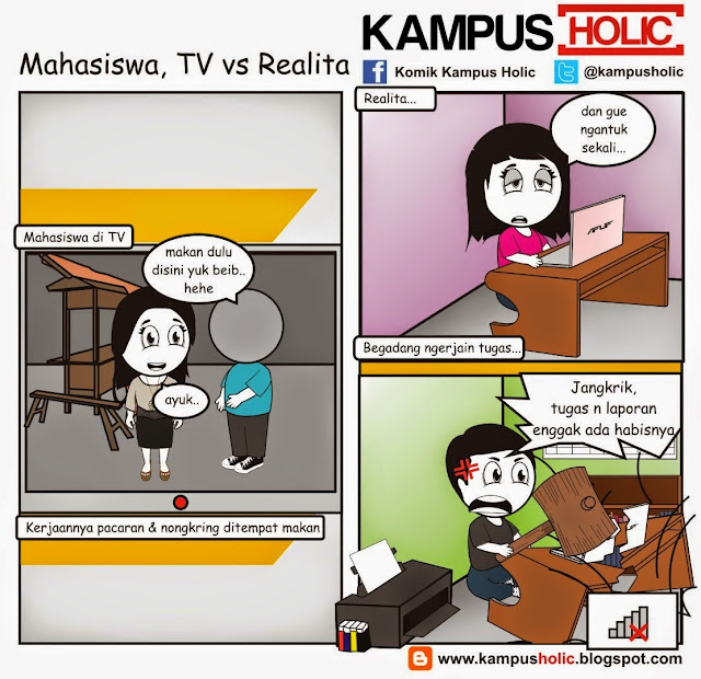 Komik Kampus Holic - Mahasiswa, TV vs Realita