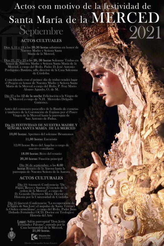 Cartel actos y cultos en honor a Santa María de la Merced de Córdoba 2021