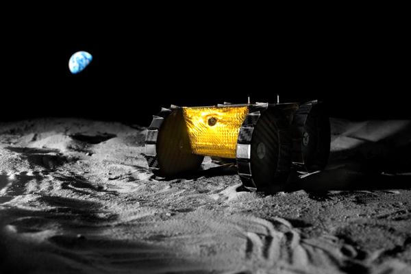 An artist's concept of the Iris Rover on the surface of the Moon.