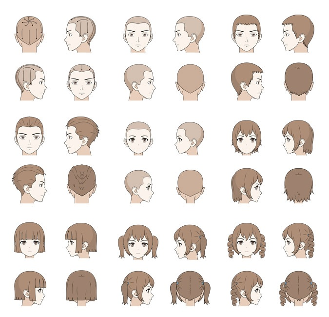 Cara Menggambar Rambut Pria & Wanita Pada Anime