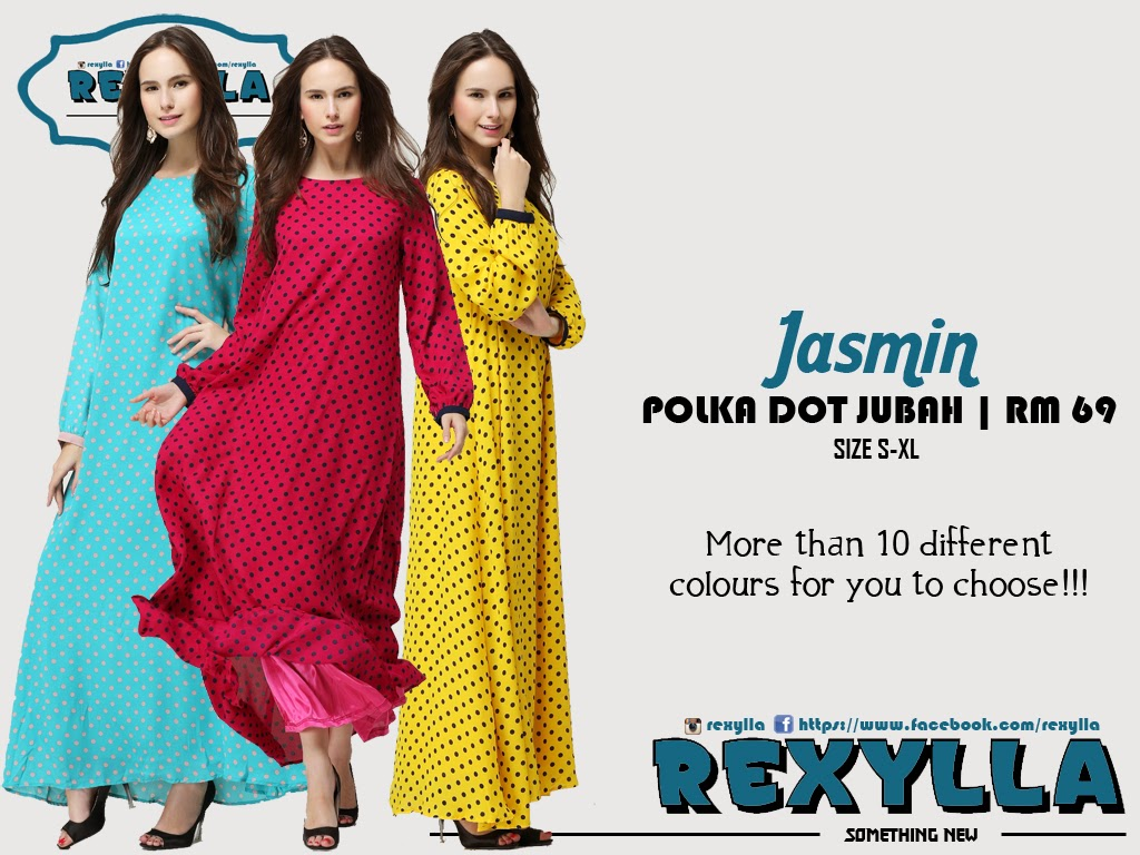 rexylla, jubah, polka dot, jasmin collection