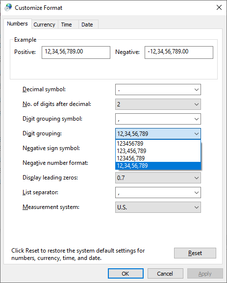 Customizing Number Fortmats in Windows