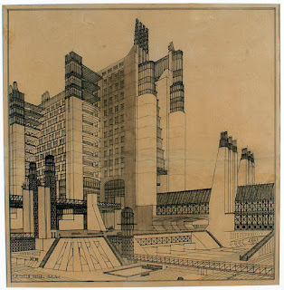 Antonio Sant'Elia's design for an apartment block with external lifts, above a network of roads