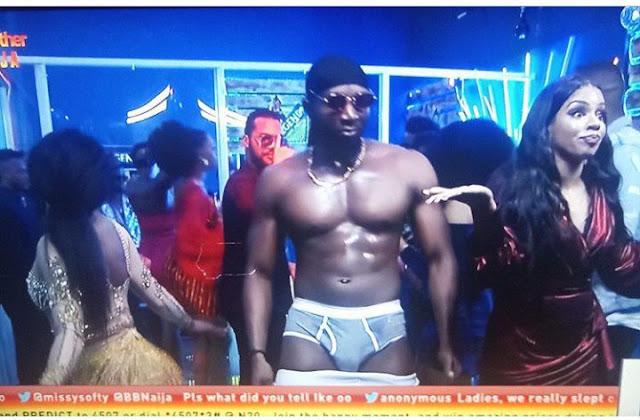 #BBNaija 2019: Tuoyo strips down To pant at final saturday night party