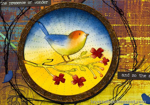 Layers of ink - Inky Bird Art Journal Page by Anna-Karin Evaldsson. Add messy stitching around the bird.