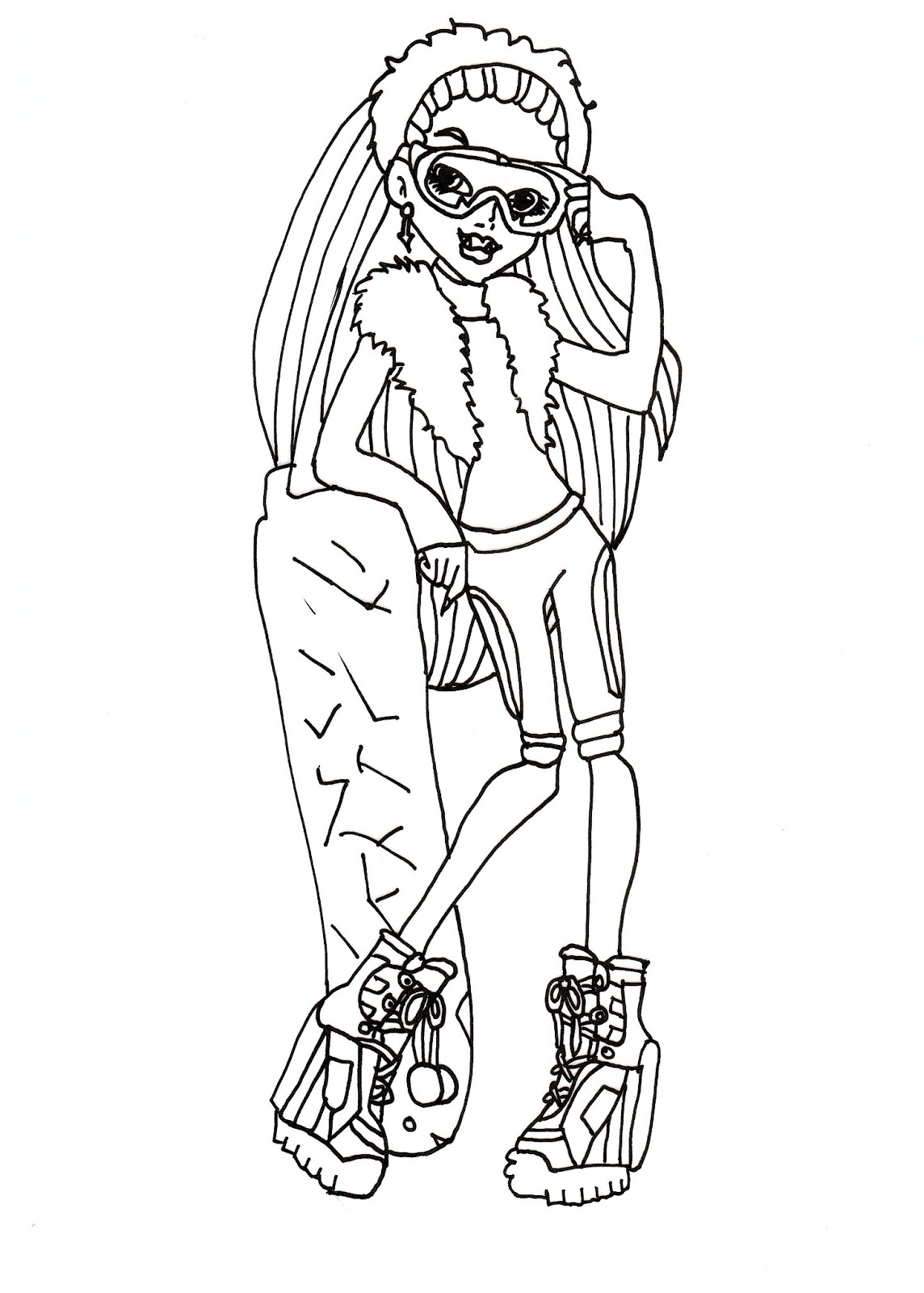 Free Printable Monster High Coloring Pages Abbey Snowboard Fashion Coloring Sheet