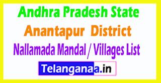 Nallamada Mandal Villages Codes Anantapur District Andhra Pradesh State India