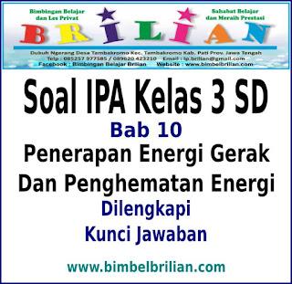 Soal IPA Kelas 3 SD Bab 10 Penerapan Energi Gerak Dan Penghematan Energi Dan Kunci Jawaban