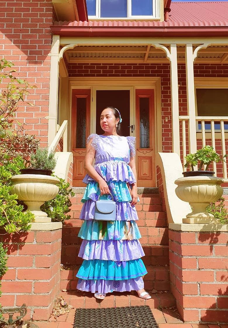 duvet transformation into ruffled dress