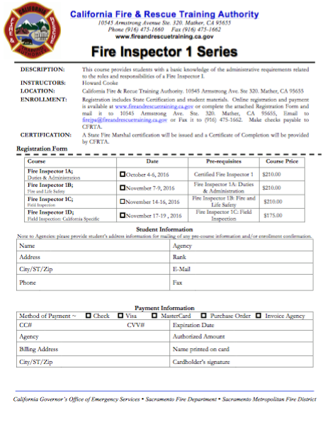 California Fire & Rescue Training Authority Fire Inspector 1 series courses