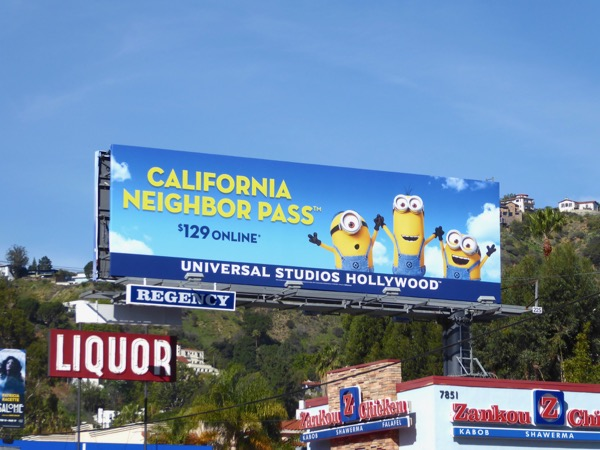 Minions Universal Studios California Neighbor Pass billboard