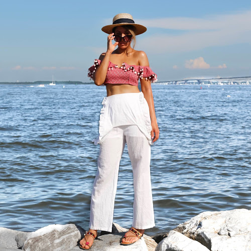 off the shoulder crop top with a white beach pants
