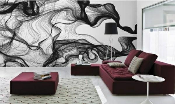 decoración de sala con mural