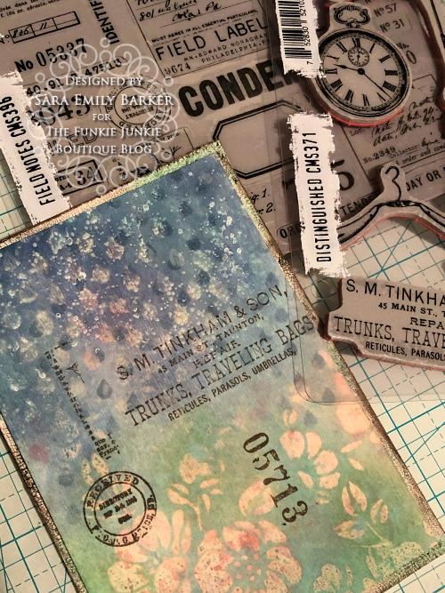 Sara Emily Barker https://sarascloset1.blogspot.com/2020/04/finding-joy-with-tim-holtz-distress.html Mixed Media Card #TimHoltz #StampersAnonymous #Ranger 8