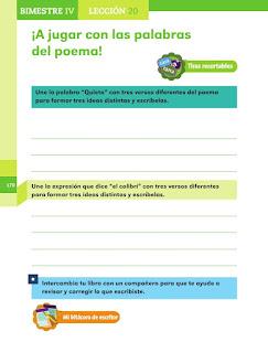 Apoyo Primaria Español 1er grado Bimestre 4 lección 20 ¡A jugar con las palabras del poema!