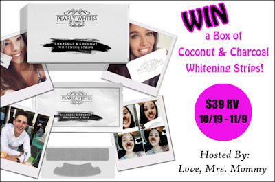 Enter the Pearly Whites Coconut & Charcoal Whitening Strips Giveaway!. Ends 11/9
