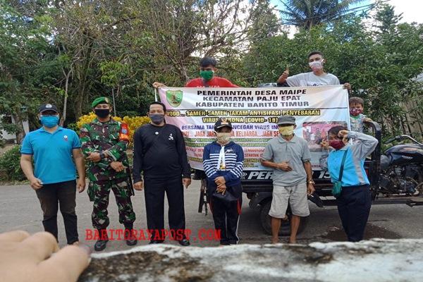 Bersama Tim Relawan, Pemdes Maipe Laksanakan Penyemprotan Disinfektan Cegah Penyebaran (Covid- 19)