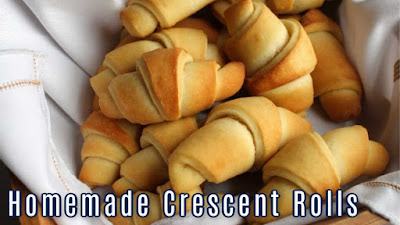 close up of homemade crescent rolls with text for video thumbnail