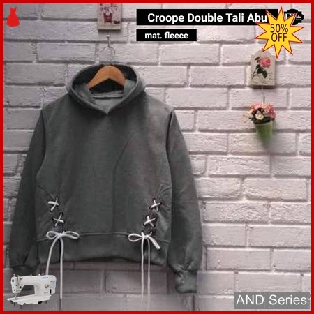 AND345 Sweater Wanita Crop Double Tali Abu BMGShop