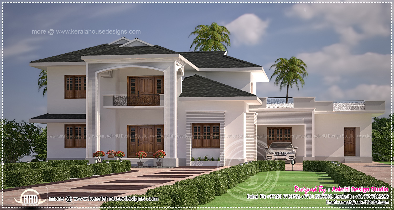 Front Elevation House Dubai : Nice and clean villa elevation exterior kerala home