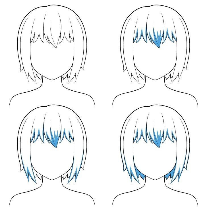 Langkah shading rambut pendek anime