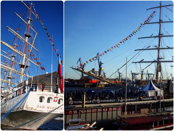 Barcos en el Hafengerburtstag de Hamburgo.