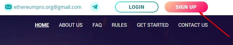Регистрация в EthereumPro