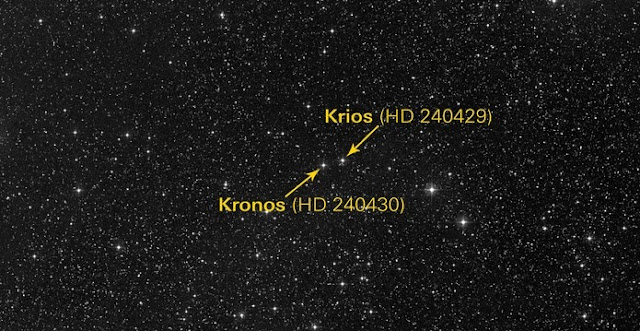 Planet-eating star HD 240430, nicknamed Kronos, and its binary twin HD240429, nicknamed Krios, are about 350 light-years away from Earth. Astrophysicists estimate that Kronos has consumed around 15 Earth masses of rocky material. Data source: STScI Digitized Sky Survey