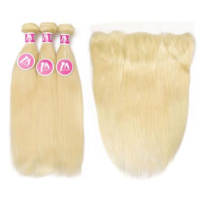 8A Premium 3 Bundles With Frontal Deal Brazilian Hair Straight Hair Blonde 613