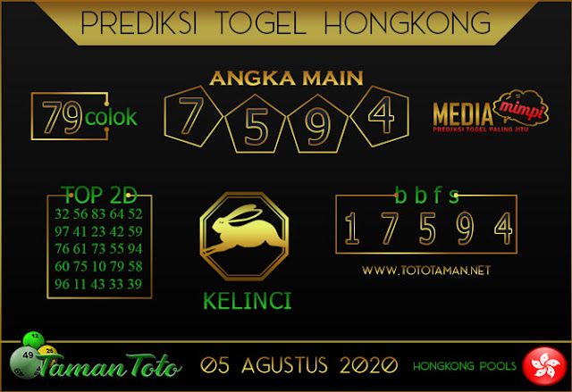 Prediksi Togel HONGKONG TAMAN TOTO 05 AGUSTUS 2020
