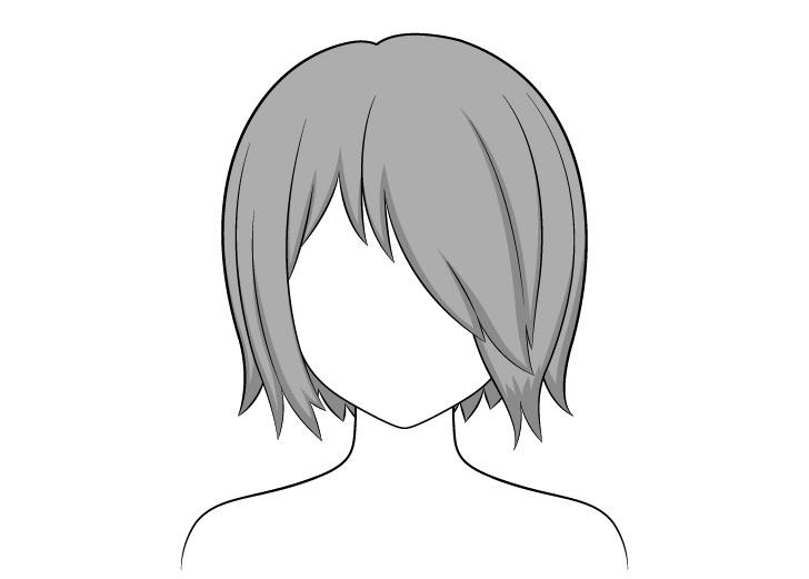 Rambut anime di atas satu bayangan mata