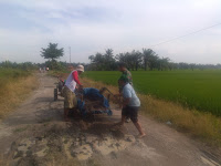Dukung Sinegritas Antara TNI Dan Rakyat, Babinsa Koramil 01/Medang Deras Bantu Warga Perbaiki Jalan Rusak