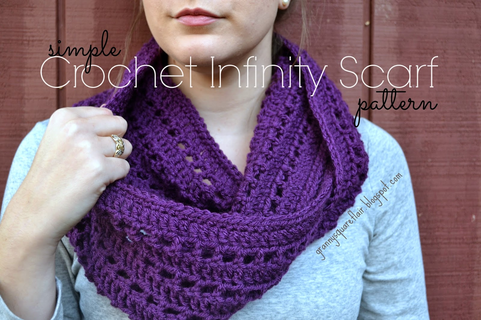 Granny Square Flair: Simple Crochet Infinity Scarf Patteren