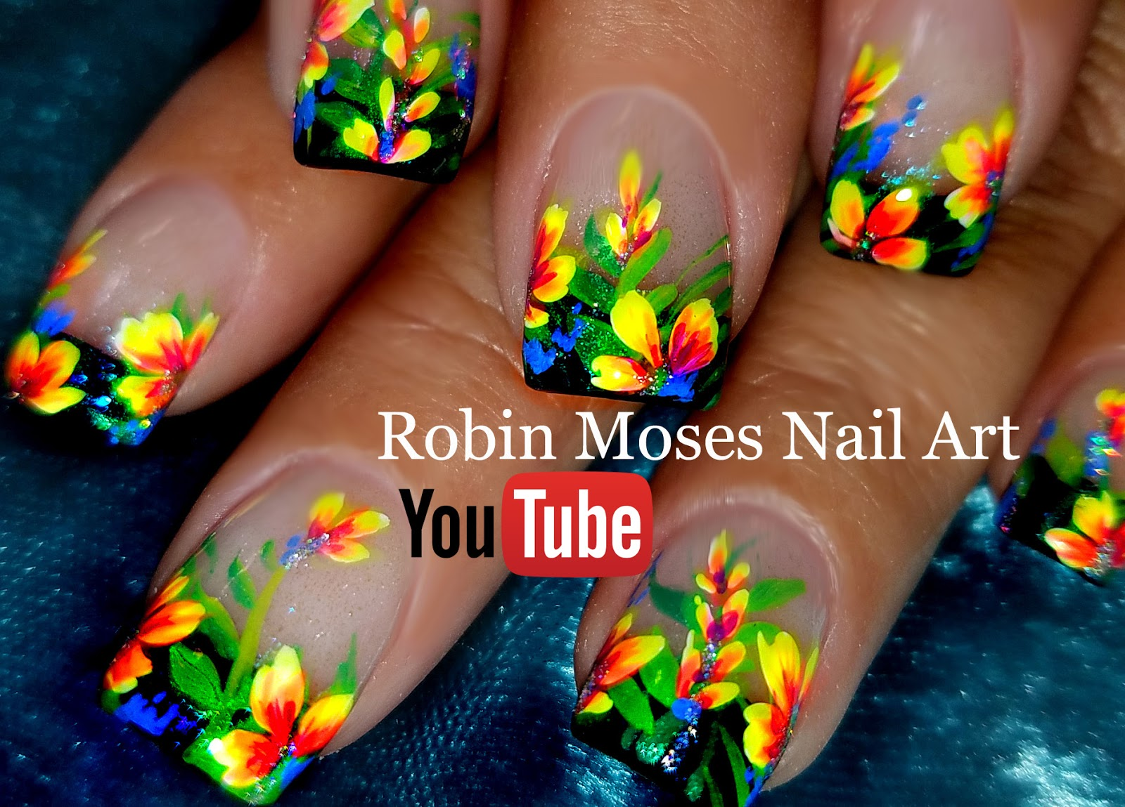 Nail Art By Robin Moses Diy Hand Painted Neon Flower Nail Art