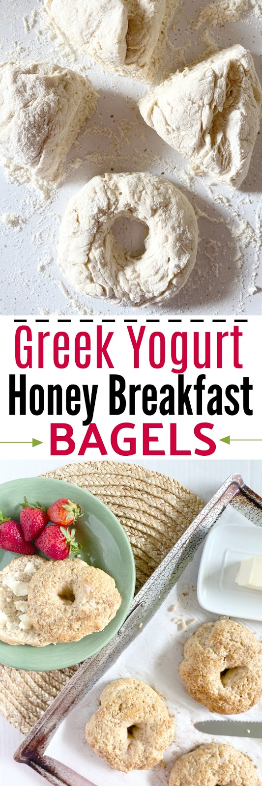 Greek Yogurt Honey Breakfast Bagels #sweetsavoryeats #2ingredients