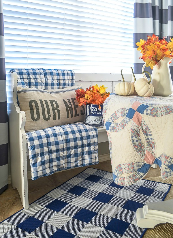 cozy fall decor with blue