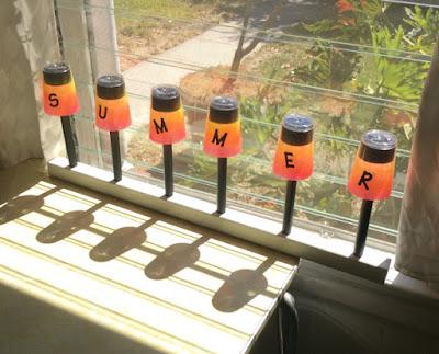 AIrbrush paint solar lights plastic cups Stefanie Girard