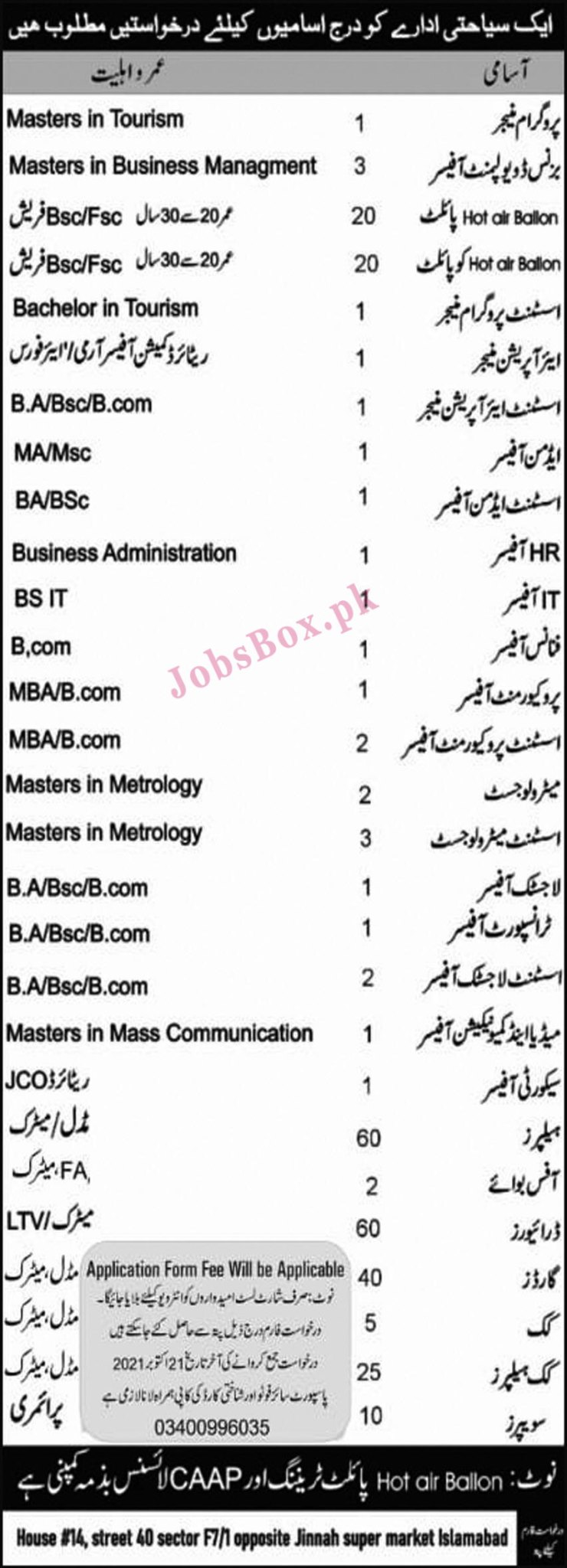 Tourism Agency Islamabad Jobs 2021 in Pakistan