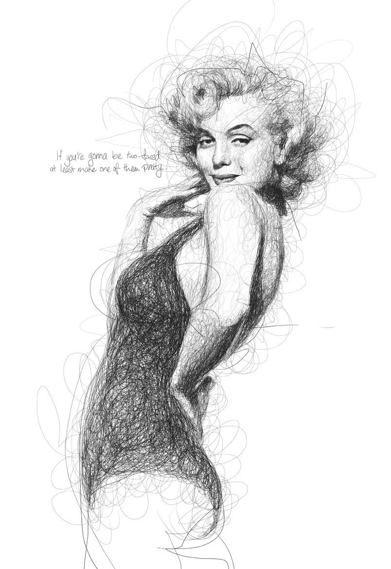 17-Marilyn-Monroe-Vince-Low-Scribble-Drawing-Portraits-Super-Heroes-and-More-www-designstack-co